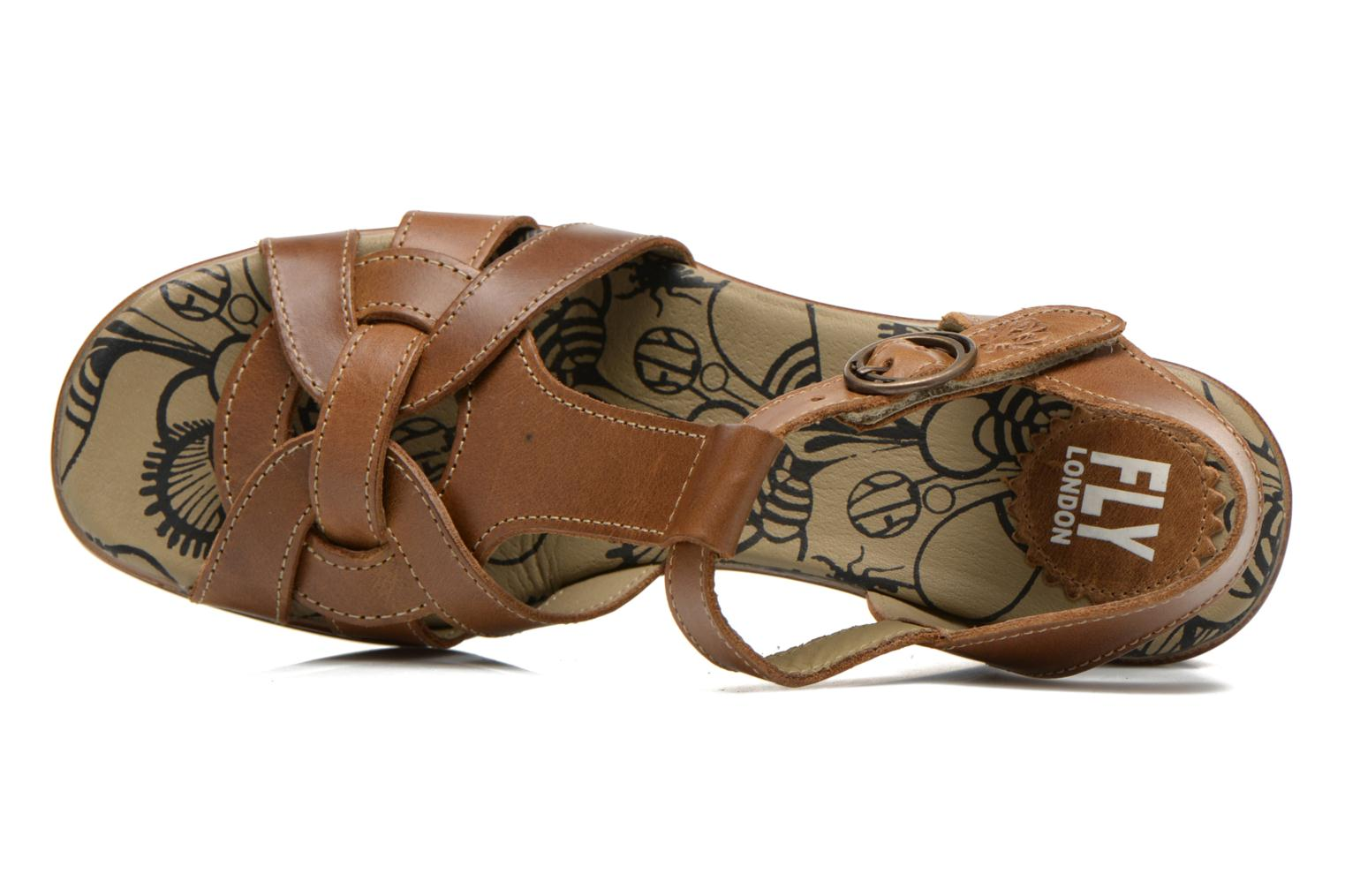 Sandals Fly London Hews Brown view from the left
