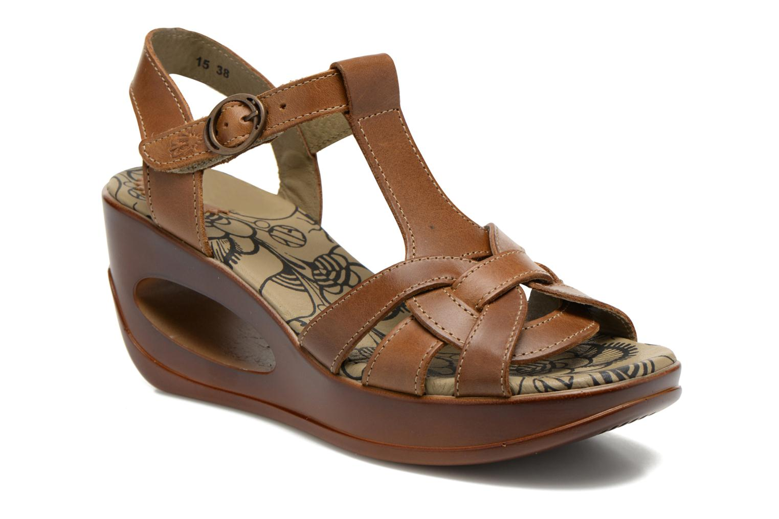 Sandals Fly London Hews Brown detailed view/ Pair view