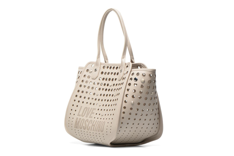 Handtaschen Love Moschino Cut out Cabas beige schuhe getragen