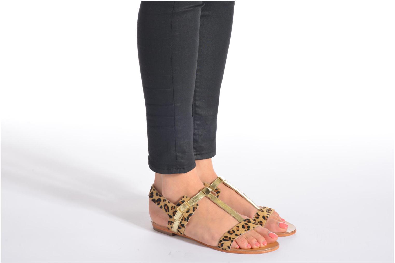 Sandales et nu-pieds COSMOPARIS Laya/pony Or et bronze vue bas / vue portée sac