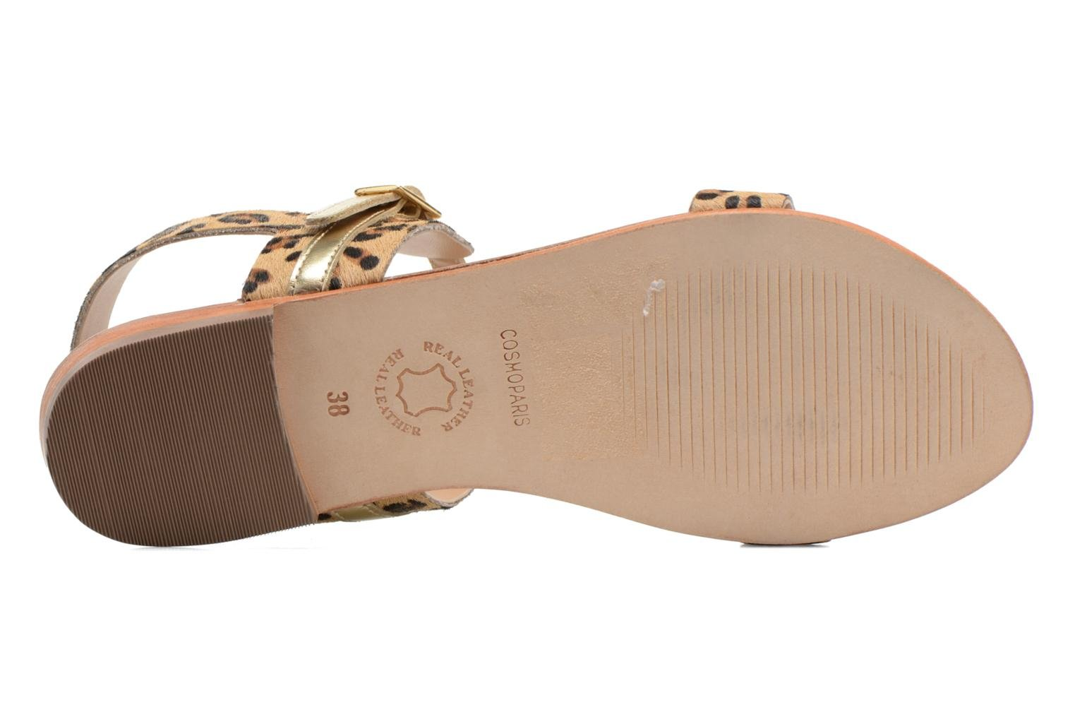 Sandals COSMOPARIS Laya/pony Bronze and Gold view from above