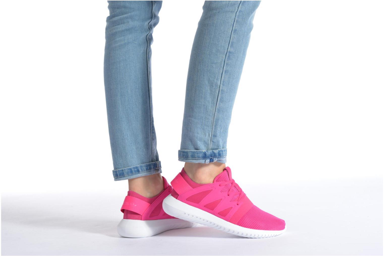 Sneaker Adidas Originals Tubular Viral W blau ansicht von unten / tasche getragen