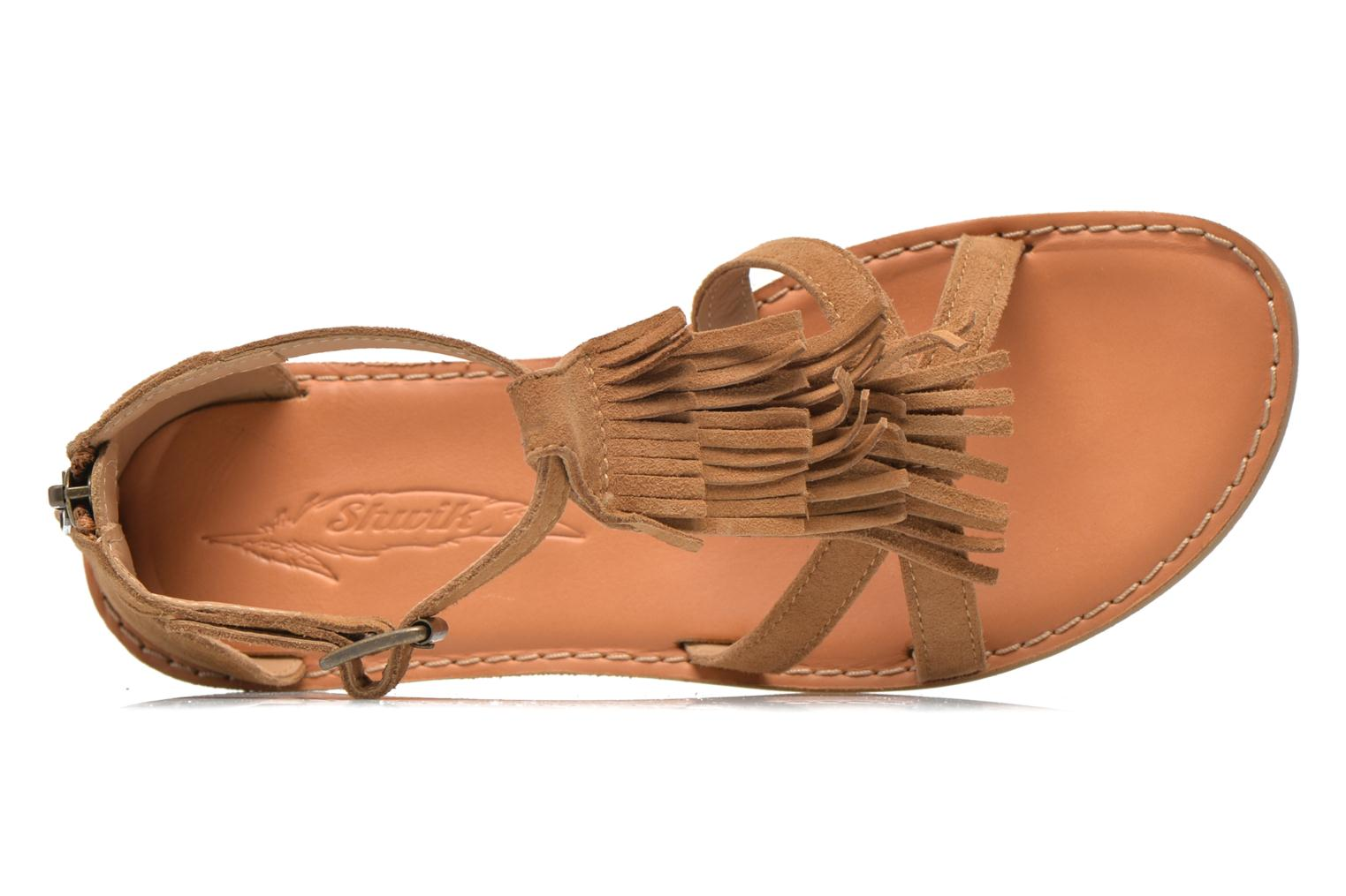 Sandals Shwik Lazar Fringe Suede Brown view from the left