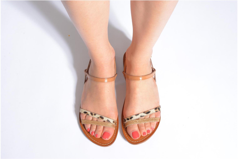 Sandales et nu-pieds L'Atelier Tropézien Laurette Marron vue bas / vue portée sac
