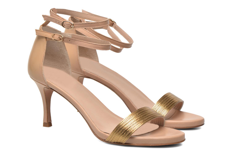 Sandales et nu-pieds Pura Lopez Barcelona Or et bronze vue 3/4