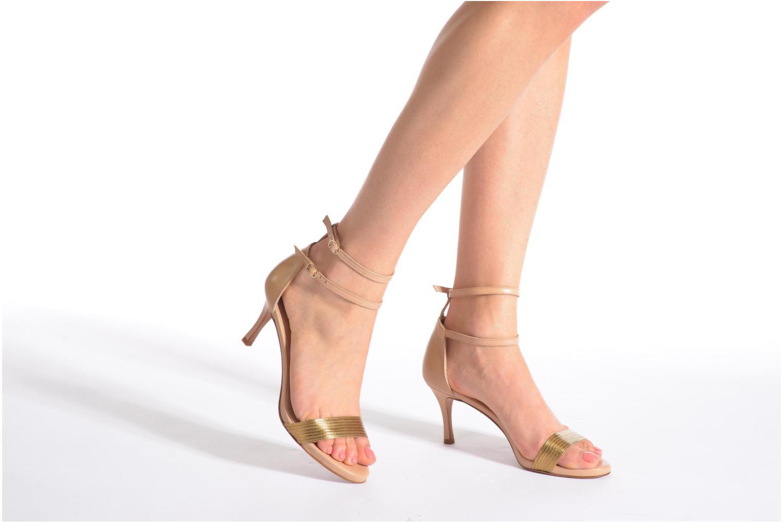 Sandales et nu-pieds Pura Lopez Barcelona Or et bronze vue bas / vue portée sac
