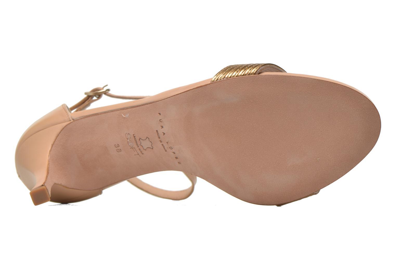 Sandales et nu-pieds Pura Lopez Barcelona Or et bronze vue haut