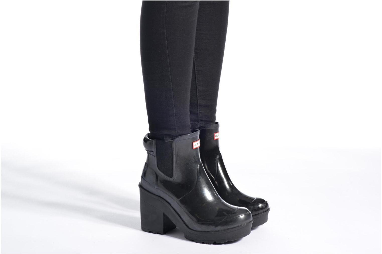 Boots Hunter Original Block Heel Chelsea Gloss Svart bild från under