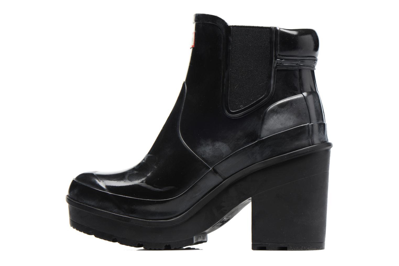 Botines  Hunter Original Block Heel Chelsea Gloss Negro vista de frente