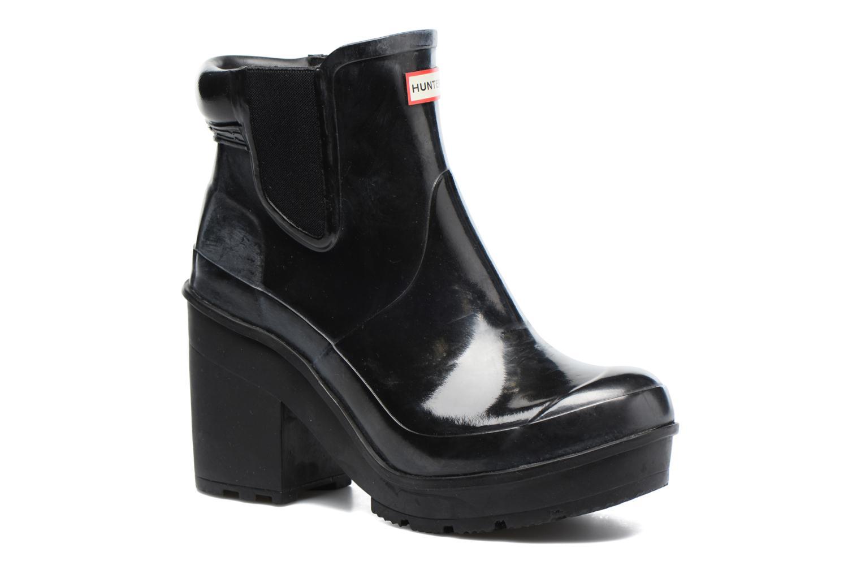 Boots Hunter Original Block Heel Chelsea Gloss Svart detaljerad bild på paret