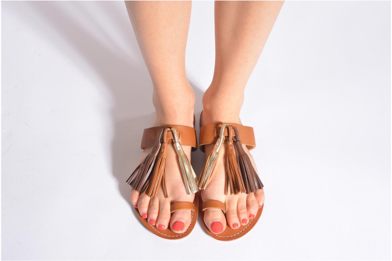 Sandale Pompon Orange Kaki