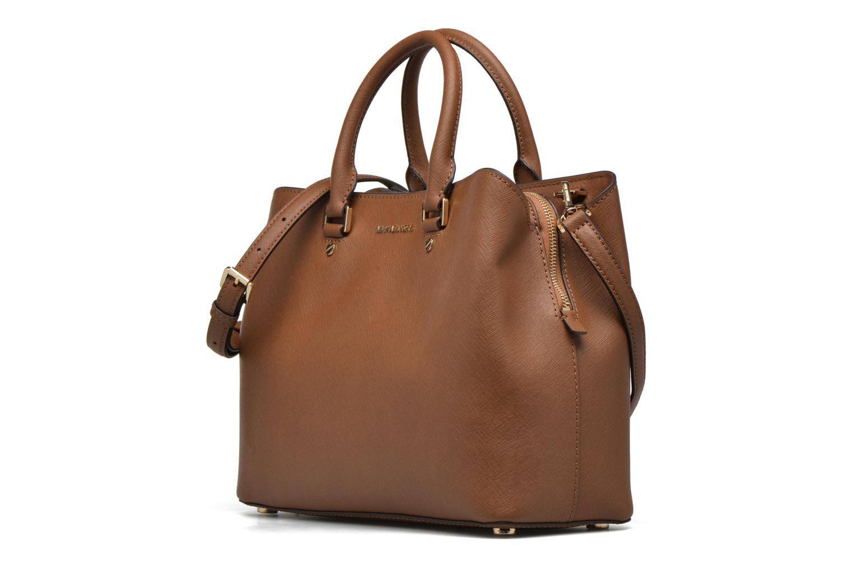 Handbags Michael Michael Kors SAVANNAH LG SATCHEL Brown model view