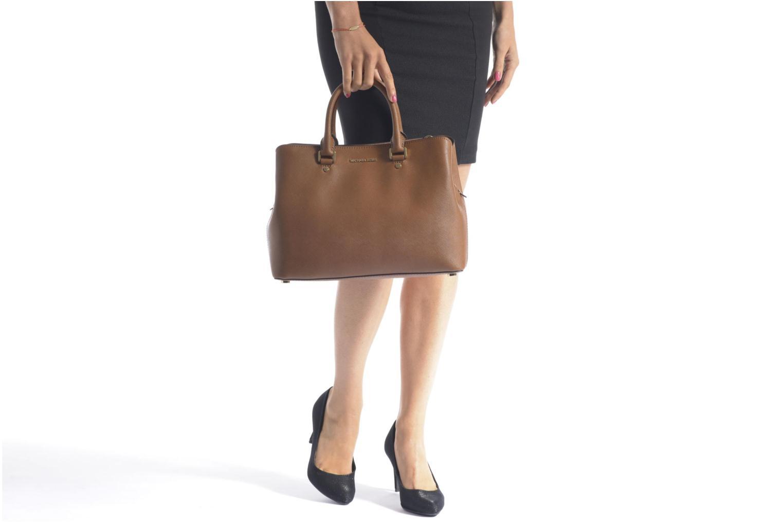 Handbags Michael Michael Kors SAVANNAH LG SATCHEL Brown view from above