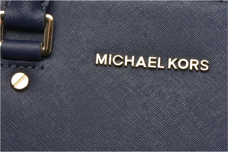 Bolsos de mano Michael Michael Kors SELMA MD TZ SATCHEL Azul vista lateral izquierda