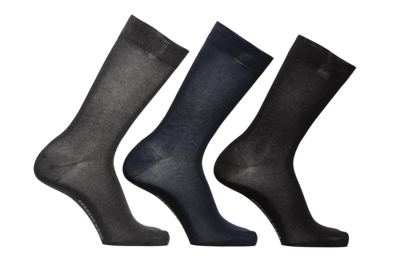 Chaussettes Homme Pack de 3 Unies coton Marine/gris chiné/noir