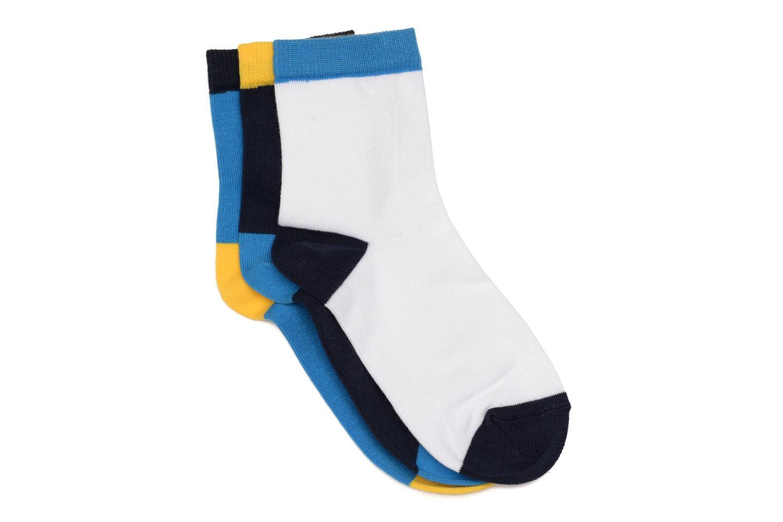 Chaussettes enfant Pack de 3 coton marine/bleu/gris/jaune