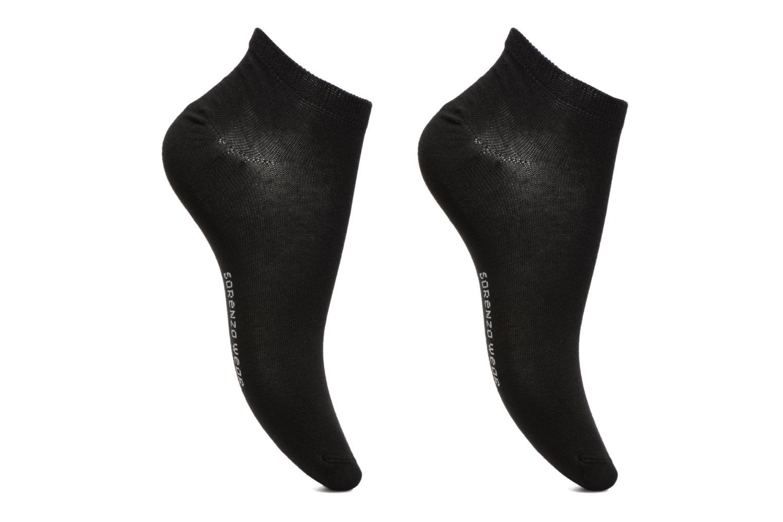 Chaussettes invisibles Femme unies Pack de 2 Coton Noir/noir