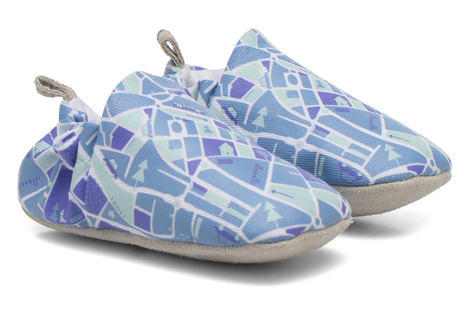 Slippers Poco Nido MAPS Blue detailed view/ Pair view