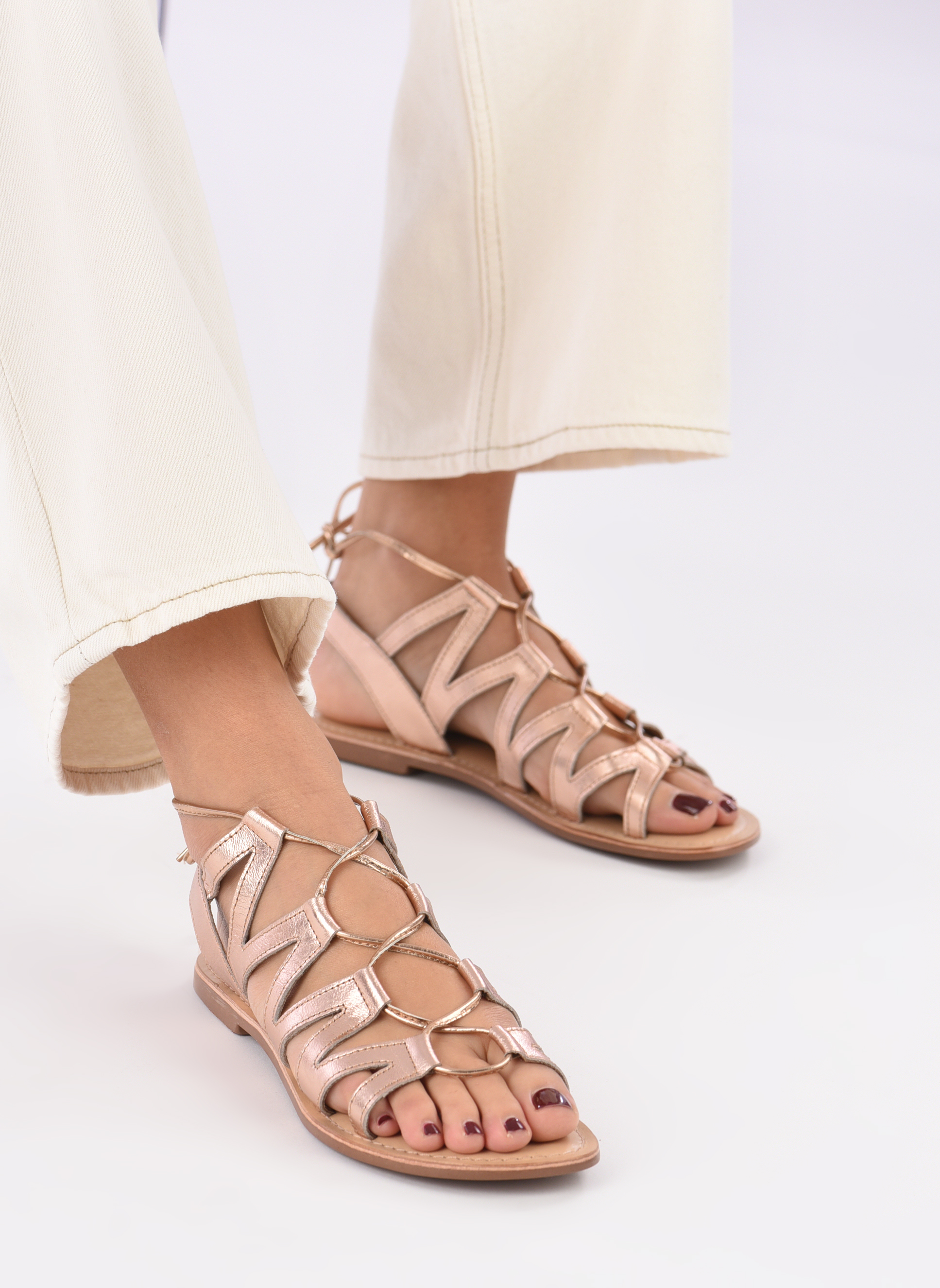 Sandals I Love Shoes SUGLI Leather Bronze and Gold view from underneath / model view