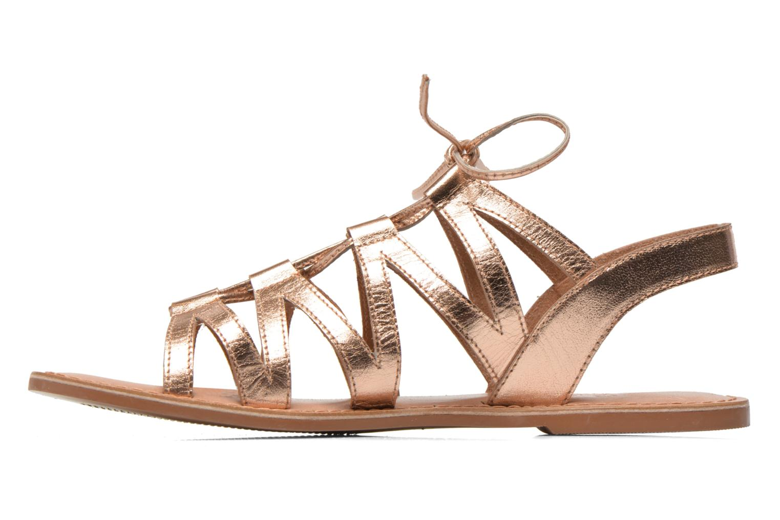Sandals I Love Shoes SUGLI Leather Bronze and Gold front view