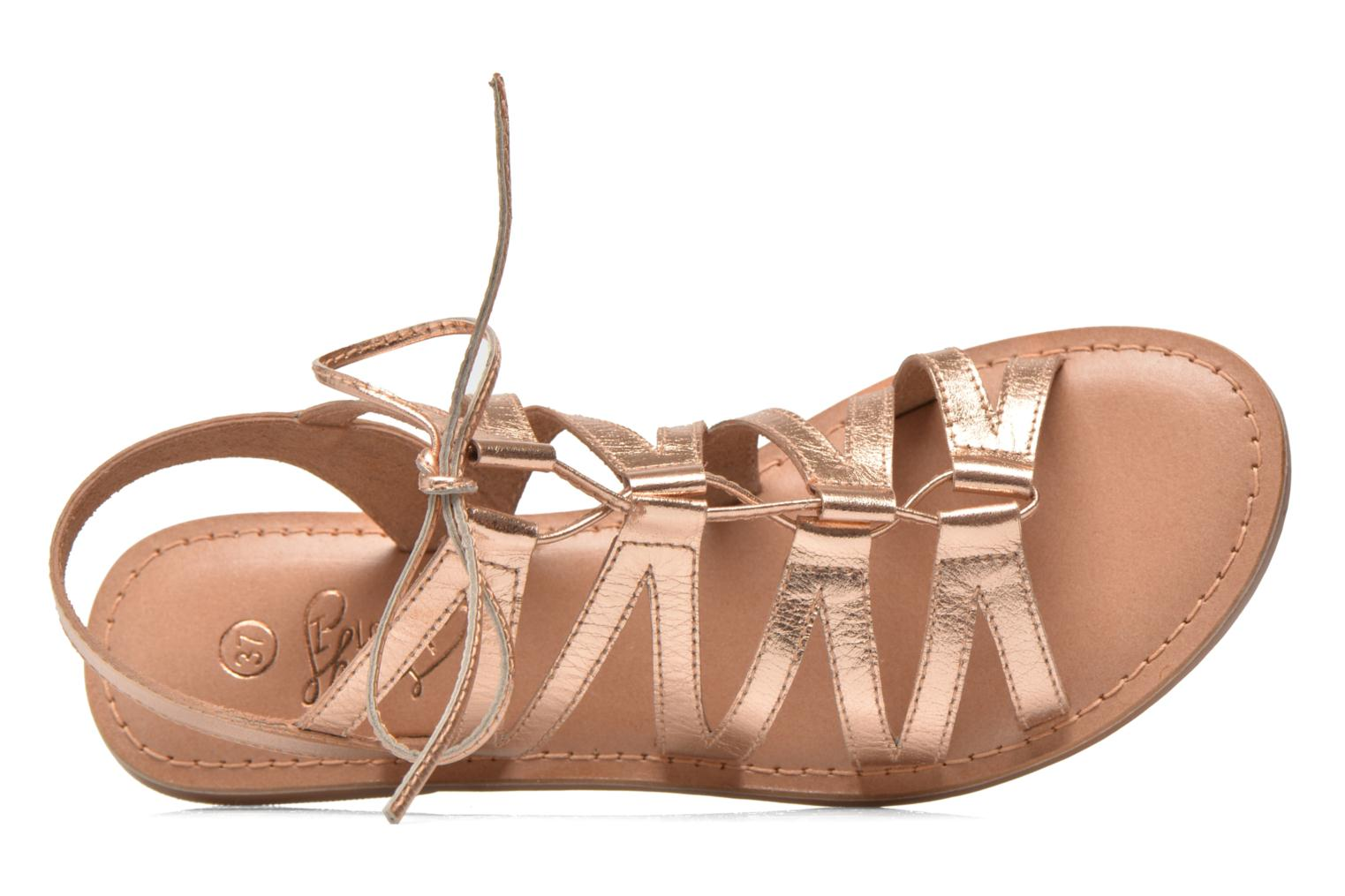Sandals I Love Shoes SUGLI Leather Bronze and Gold view from the left