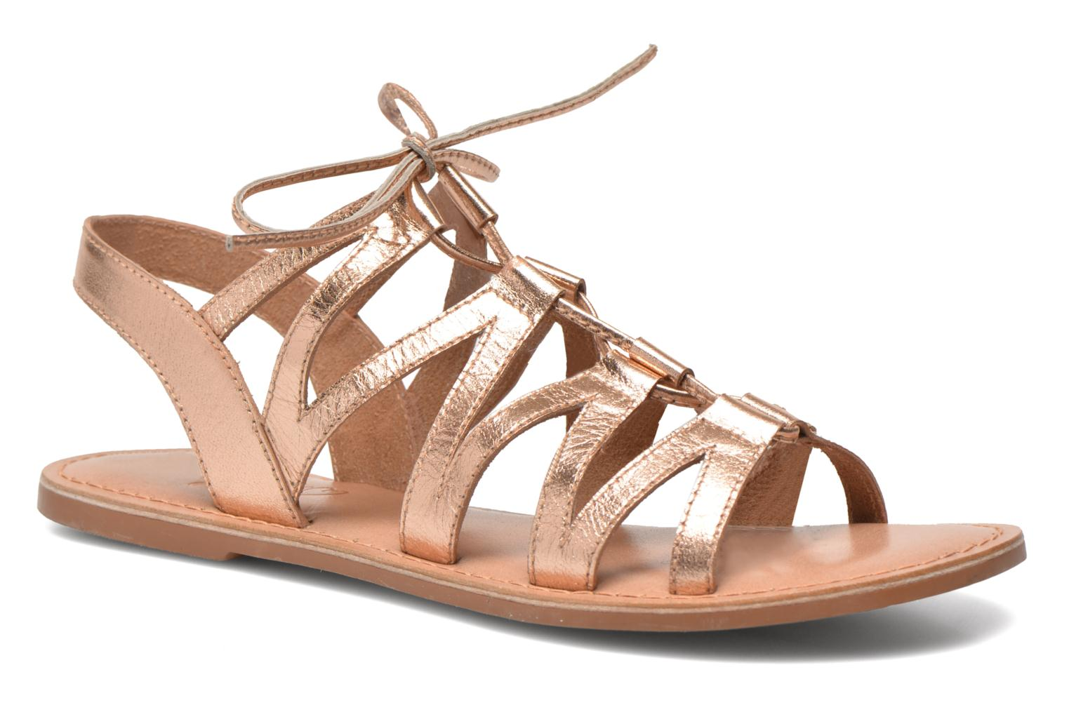 Sandals I Love Shoes SUGLI Leather Bronze and Gold detailed view/ Pair view