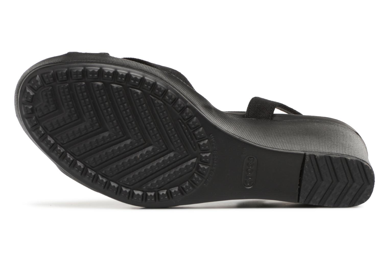Sandali e scarpe aperte Crocs Leigh II Ankle Strap Wedge W Nero immagine dall'alto