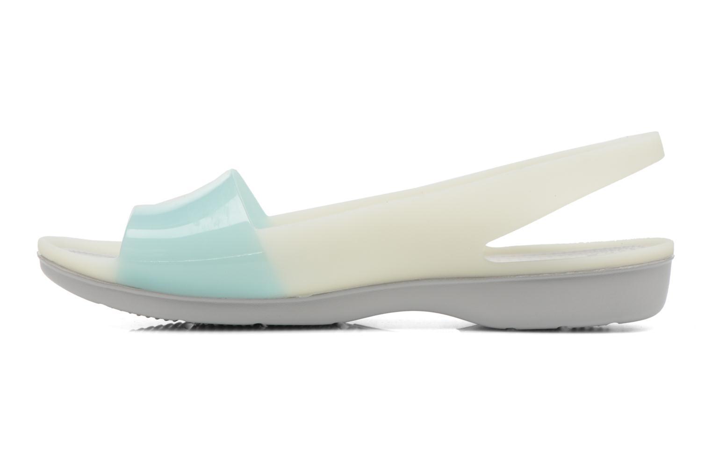 Sandales et nu-pieds Crocs ColorBlock Flat W Bleu vue face