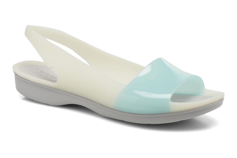 Sandales et nu-pieds Crocs ColorBlock Flat W Bleu vue détail/paire