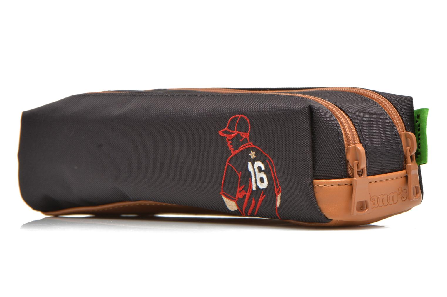 School bags Tann's Trousse double Baseball Grey view from the right