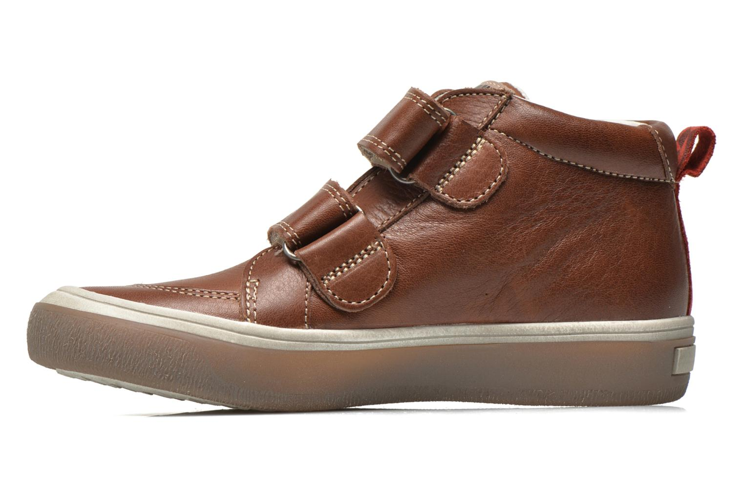 Velcro shoes Babybotte Kadreur Brown front view