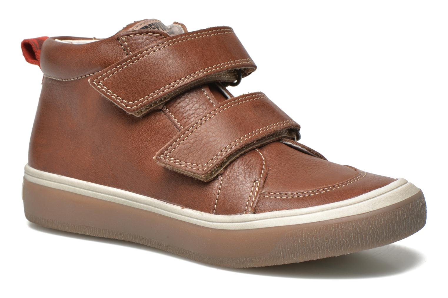 Velcro shoes Babybotte Kadreur Brown detailed view/ Pair view