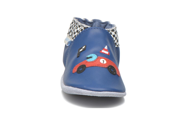 Hausschuhe Robeez Speed blau schuhe getragen