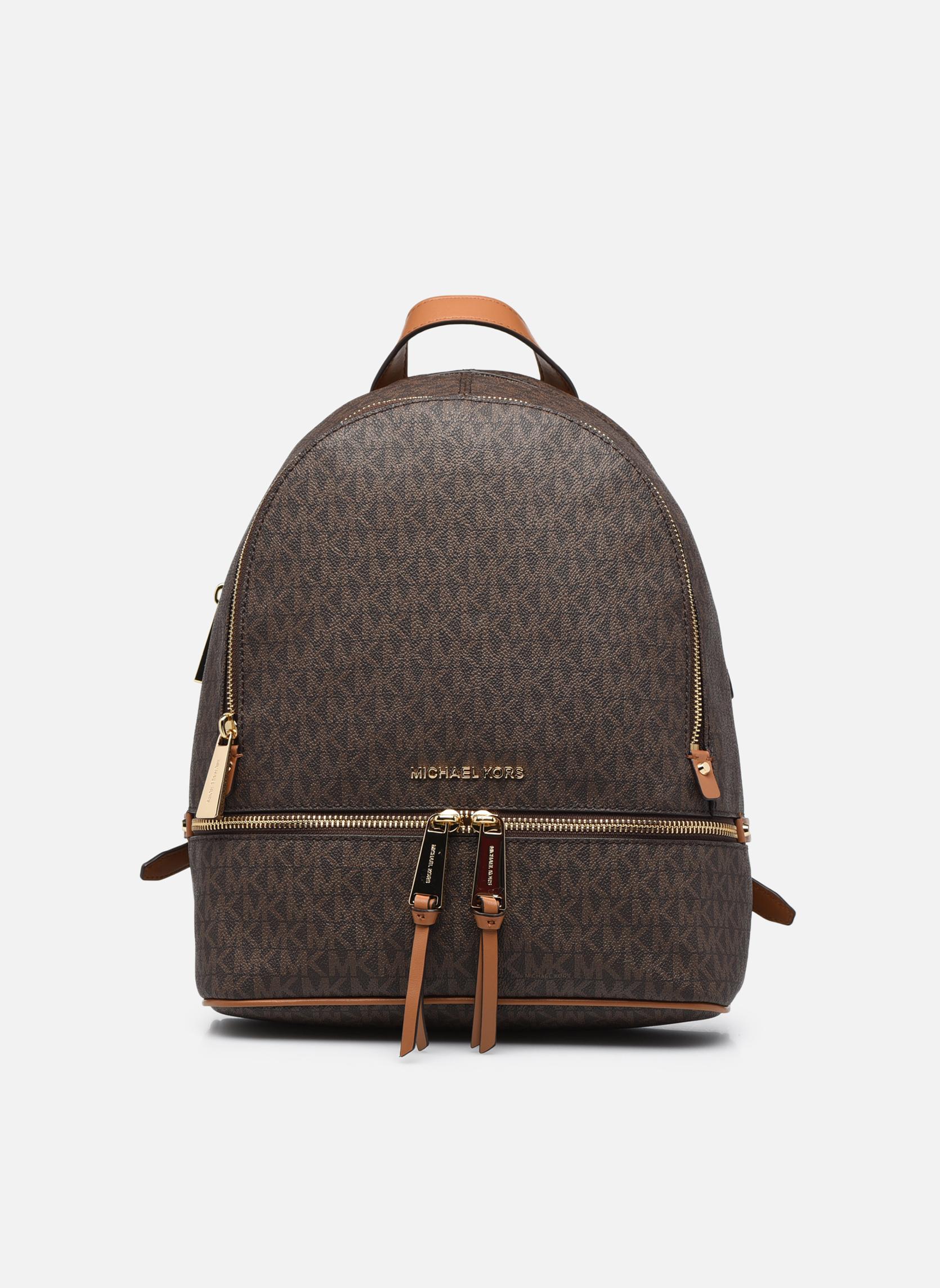 Sacs à dos Michael Michael Kors RHEA ZIP MD Backpack Marron vue détail/paire