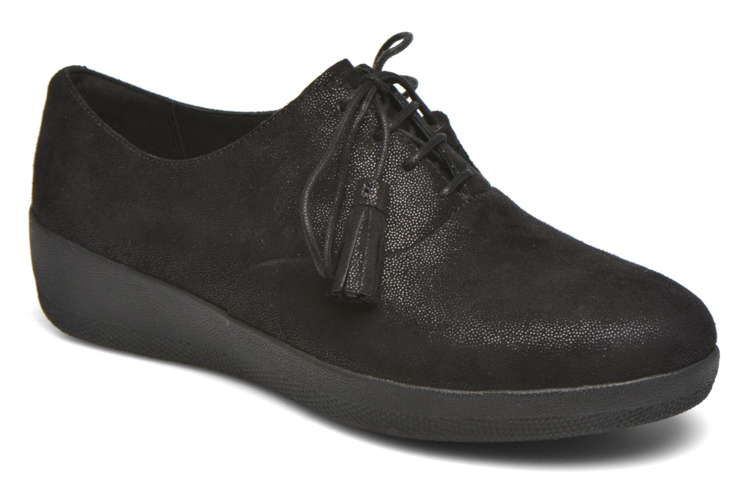 Lace-up shoes FitFlop Classic Tassel Superoxford Black detailed view/ Pair view