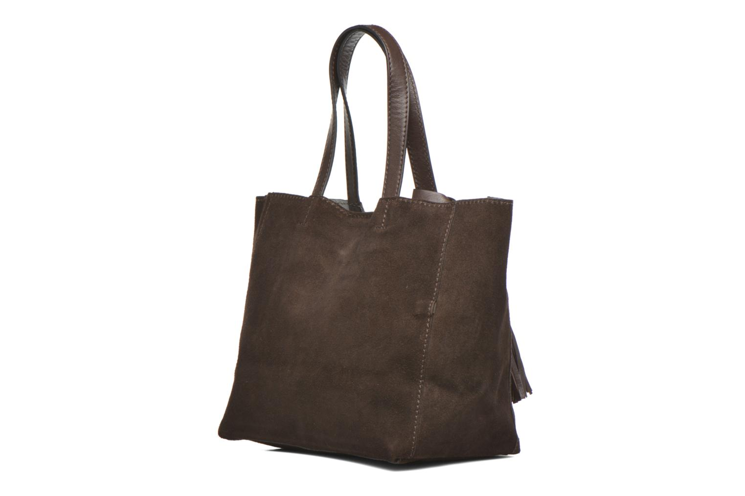 CABAS PARISIEN Croute velours Dark Brown