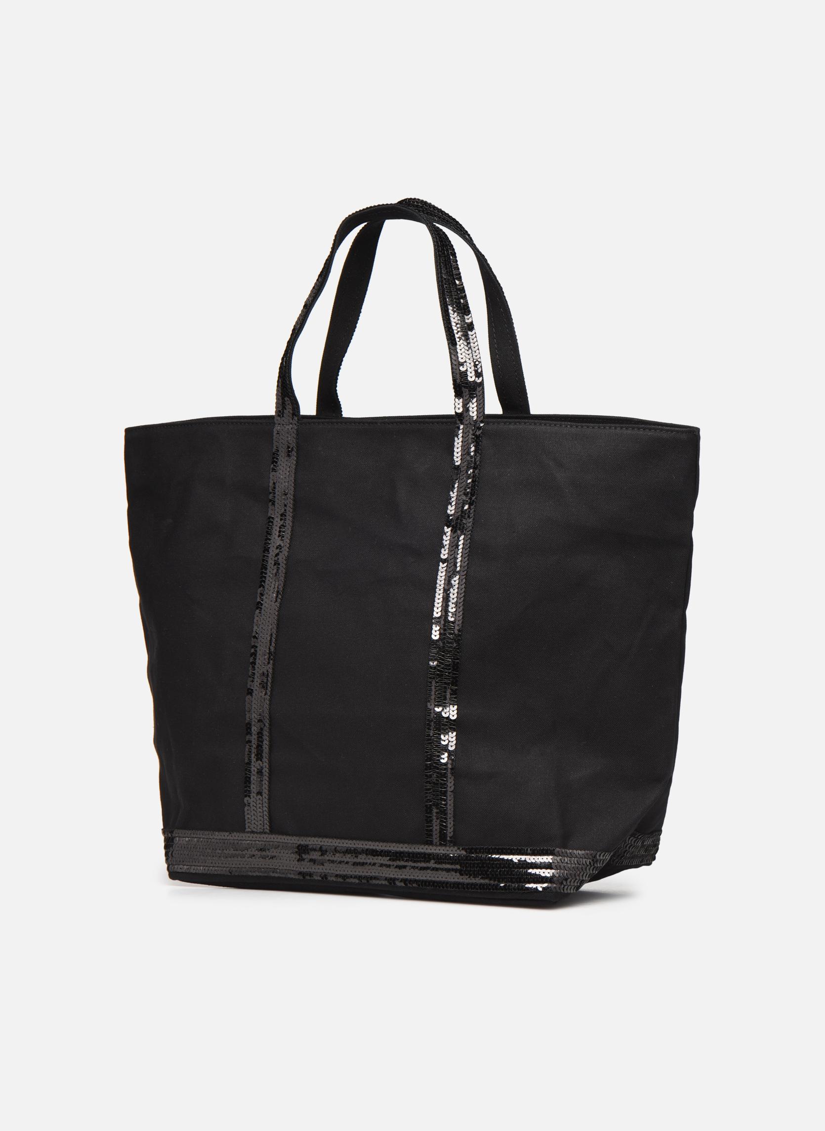 Handtaschen Vanessa Bruno Cabas paillettes toile Porté épaule M+ schwarz schuhe getragen