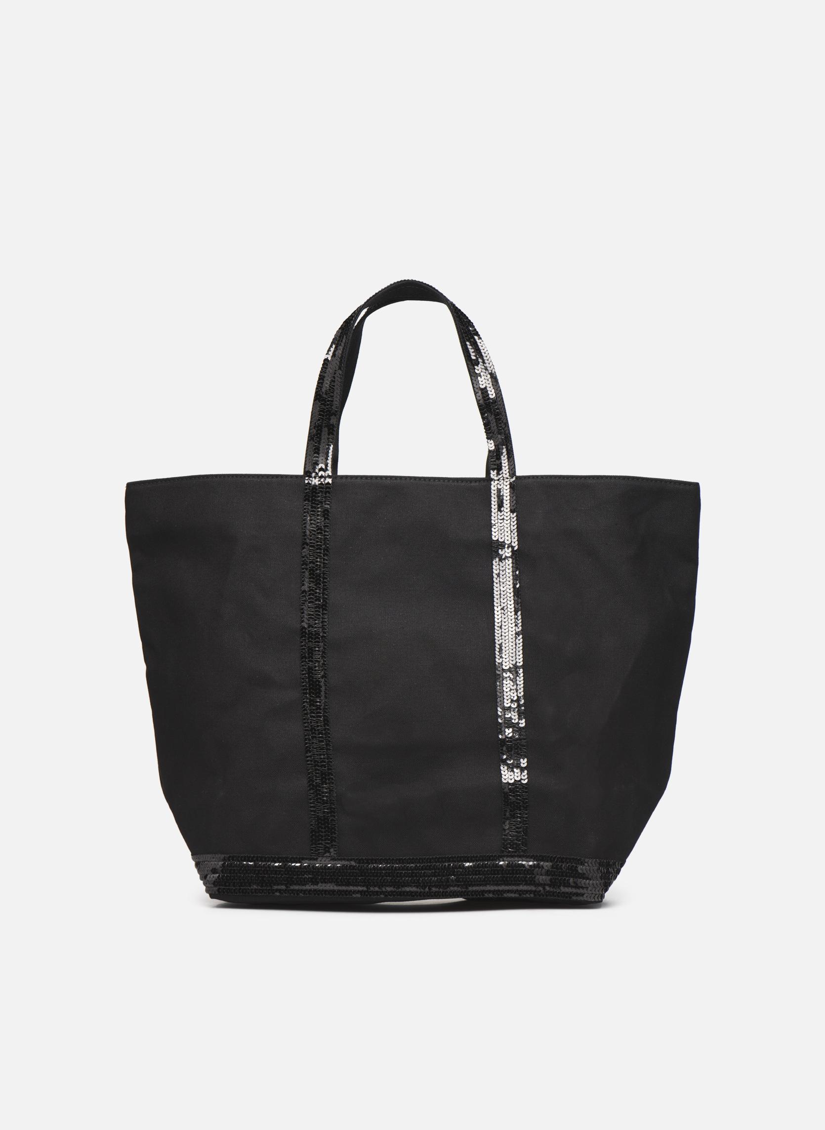 Handtaschen Vanessa Bruno Cabas paillettes toile Porté épaule M+ schwarz ansicht von vorne