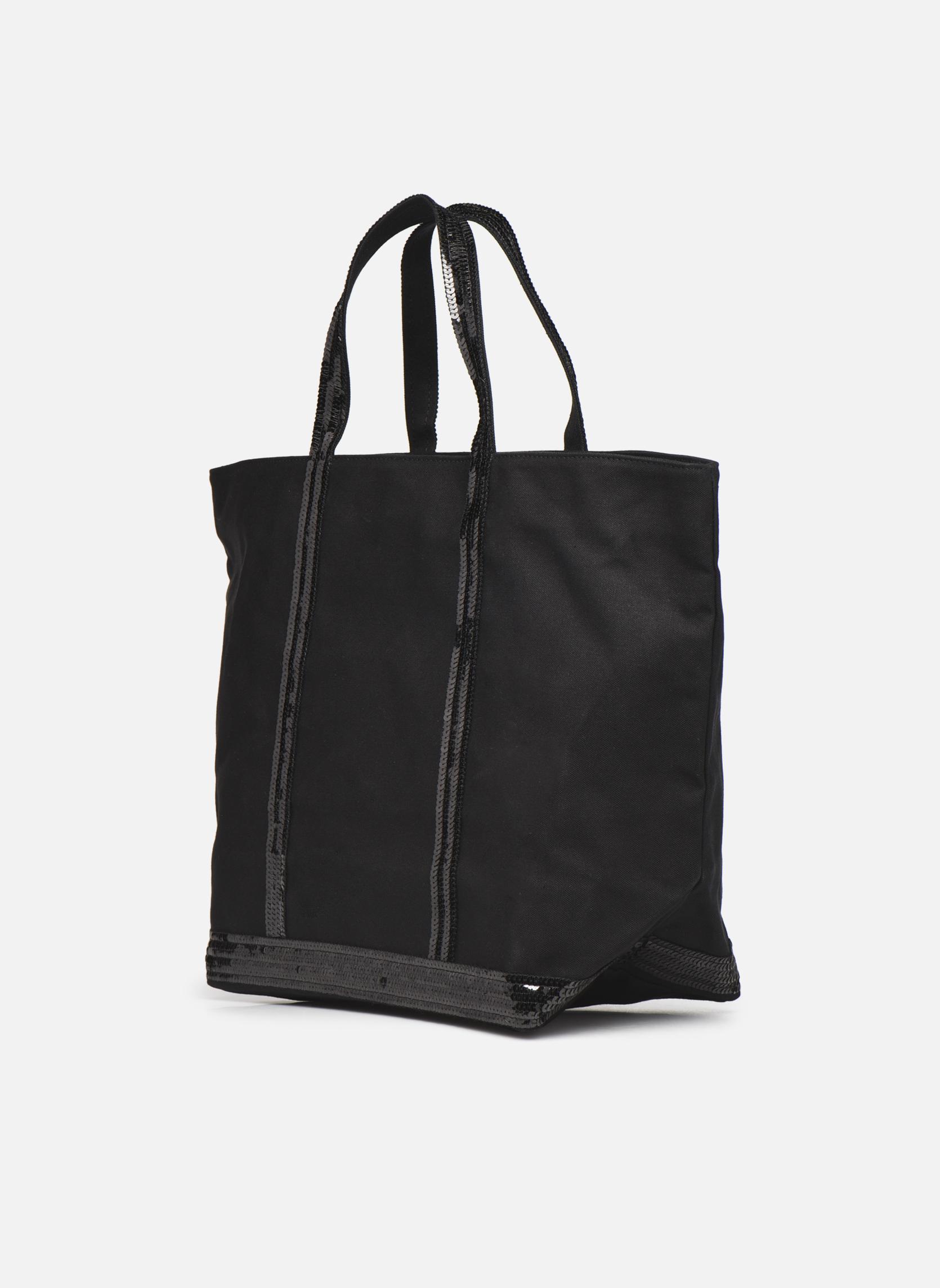 Handtaschen Vanessa Bruno Cabas paillettes toile Porté épaule M+ schwarz ansicht von rechts