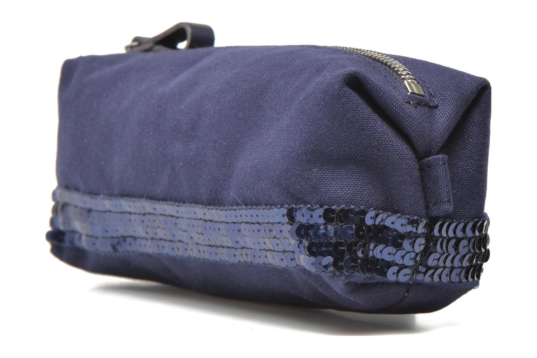 Scolaire Vanessa Bruno Trousse paillettes toile Bleu vue portées chaussures