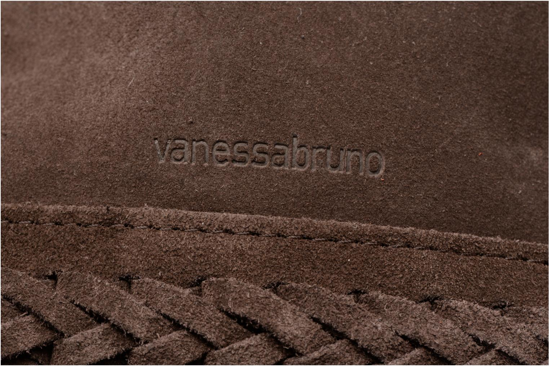 Sacs à main Vanessa Bruno Cabas Frida tressé cuir velours Porté épaule M+ Marron vue gauche