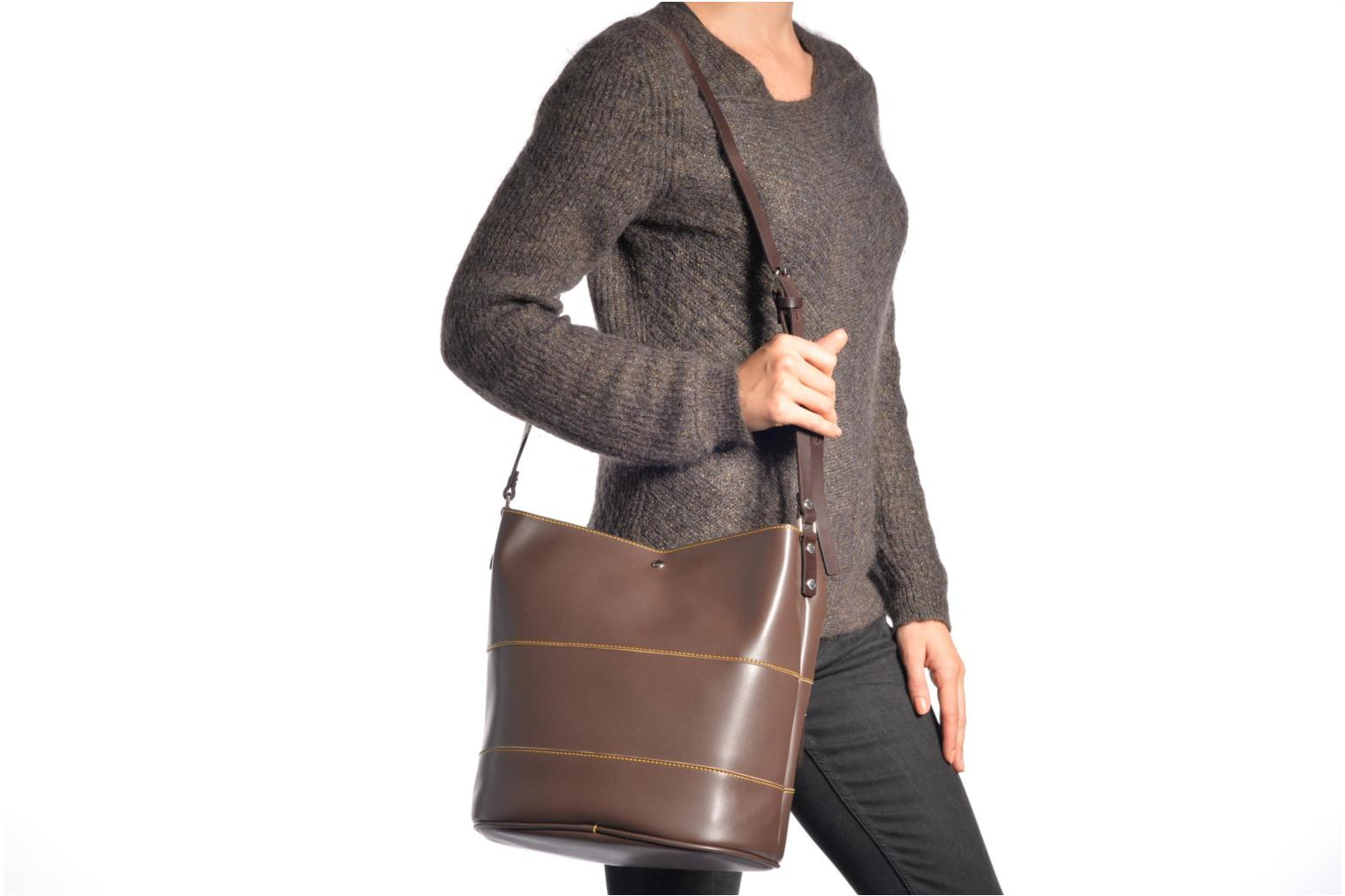 Handbags Paquetage Seau bicolore Brown view from above