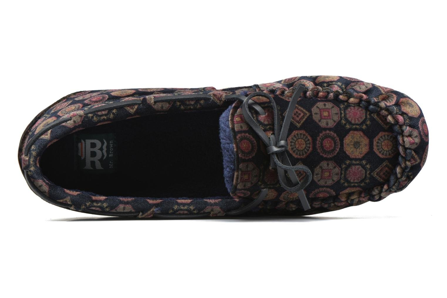 Chaussons Ruby Brown Velvet tie print moccasin Multicolore vue gauche