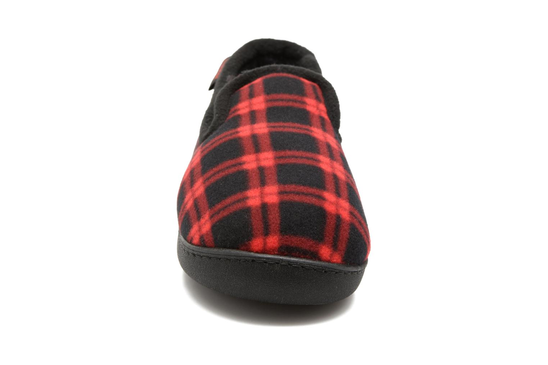 Chaussons Isotoner Charentaise Ergonomique Polaire Rouge vue portées chaussures