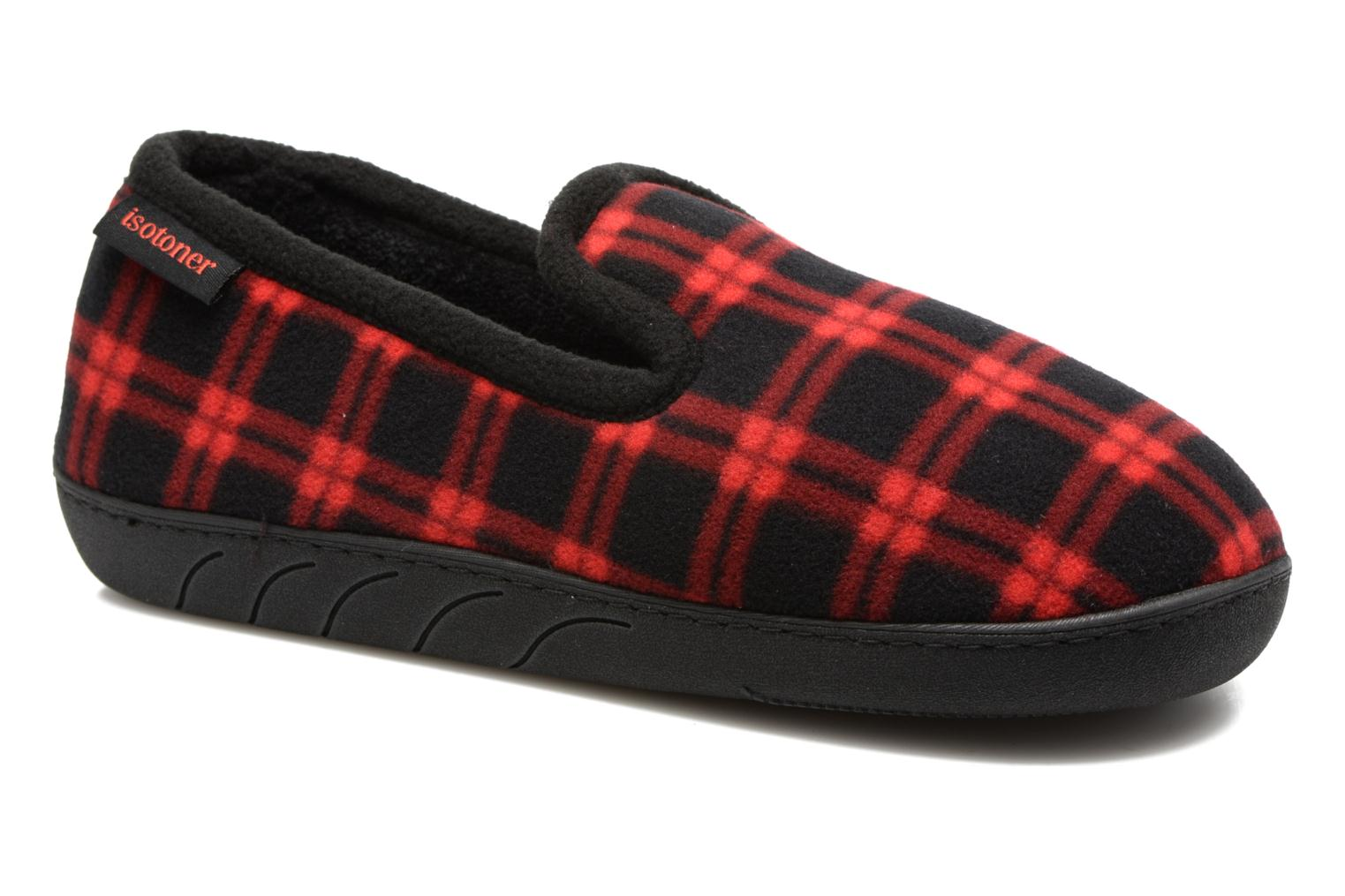 Slippers Isotoner Charentaise Ergonomique Polaire Red detailed view/ Pair view