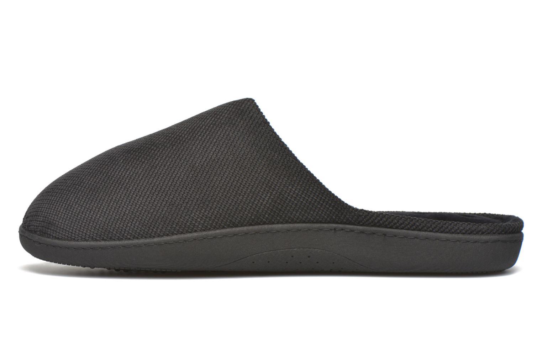 Slippers Isotoner Mule ergonomique velours cotelé Black front view