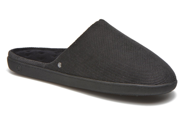Slippers Isotoner Mule ergonomique velours cotelé Black detailed view/ Pair view