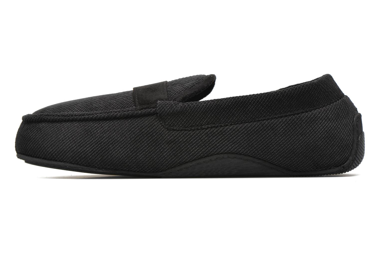 Slippers Isotoner Mocassin velours côtelé Black front view