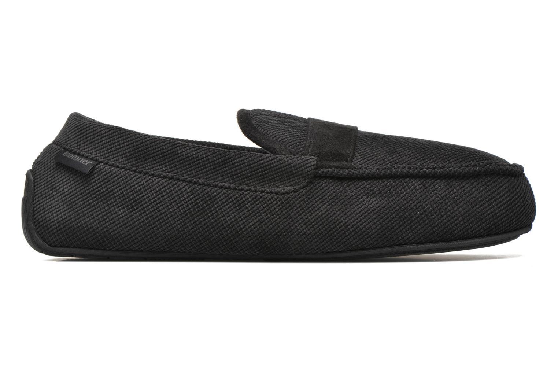 Hausschuhe Isotoner Mocassin velours côtelé schwarz ansicht von hinten