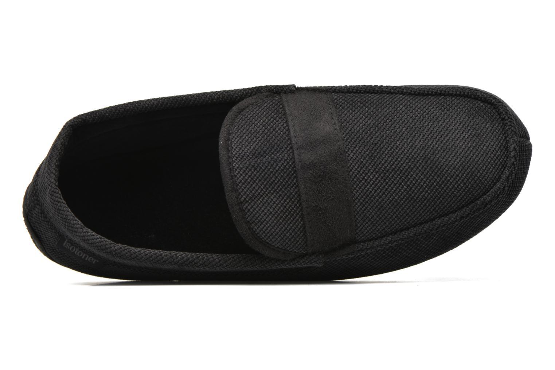 Hausschuhe Isotoner Mocassin velours côtelé schwarz ansicht von links